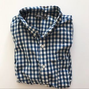 Vince Off White and Blue Check Button Up XL